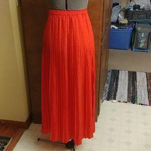 Michael Kors red orange pleated maxi skirt